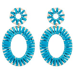 Womens hand made Elliptical Raffia Earrings NHJE125312's discount tags