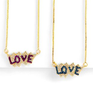 Womens geometric inlaid zircon copper plated 18K alloy colorful zircon Necklaces NHAS125313's discount tags