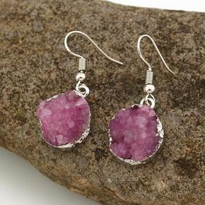 Womens Round Natural Stone Earrings NHGO125316