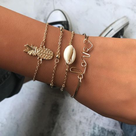 Womens Shell Pineapple Love Plating Alloy Shell Bracelets & Bangles NHNZ125319's discount tags