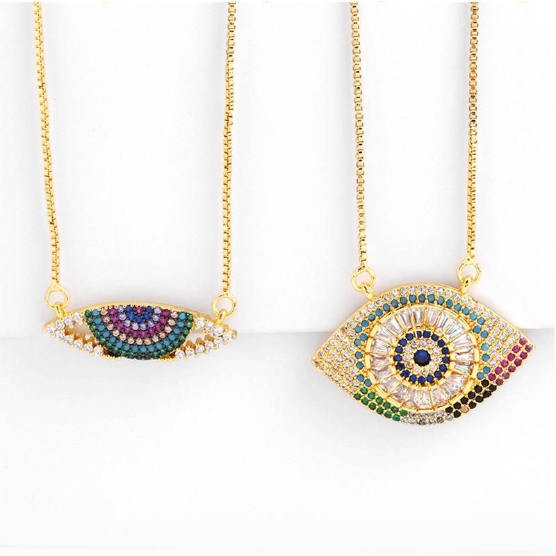 Womens geometric inlaid zircon copper plated 18K alloy minimalist Necklaces NHAS125337