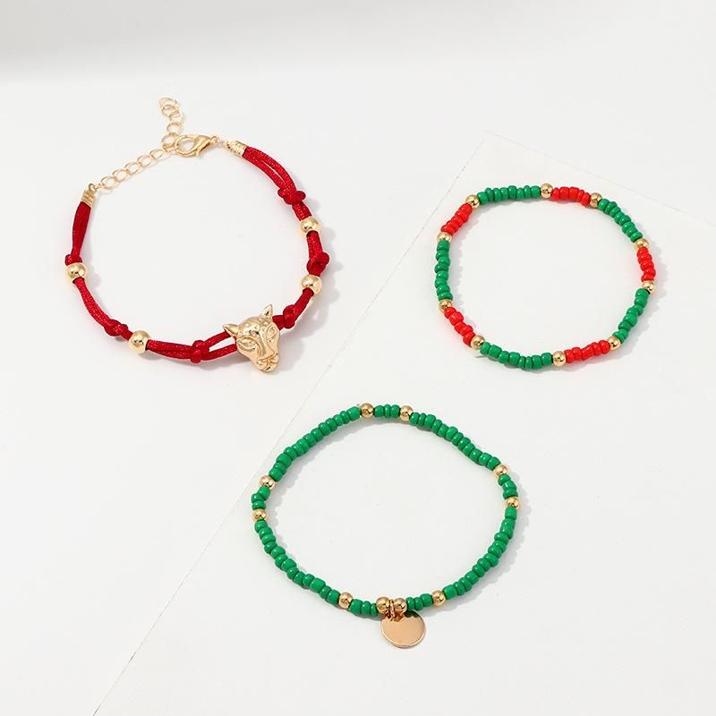 Womens Ethnic style multicolor rice beads hand-woven Alloy Bracelets & Bangles NHNZ125339