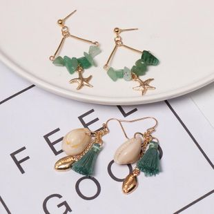 Womens Shell Starfish Tassel Mixed Material Earrings NHJJ125340's discount tags