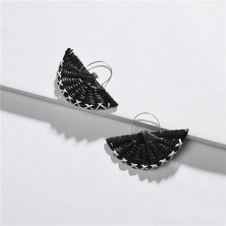 Womens Geometry Electroplating Rattan color semicircle Alloy Earrings NHLU125342's discount tags