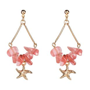Womens Floral Starfish shell Resin Earrings NHJE125362's discount tags