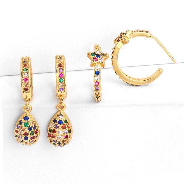 Womens teardrop star brass electric white steel Earrings NHAS125369