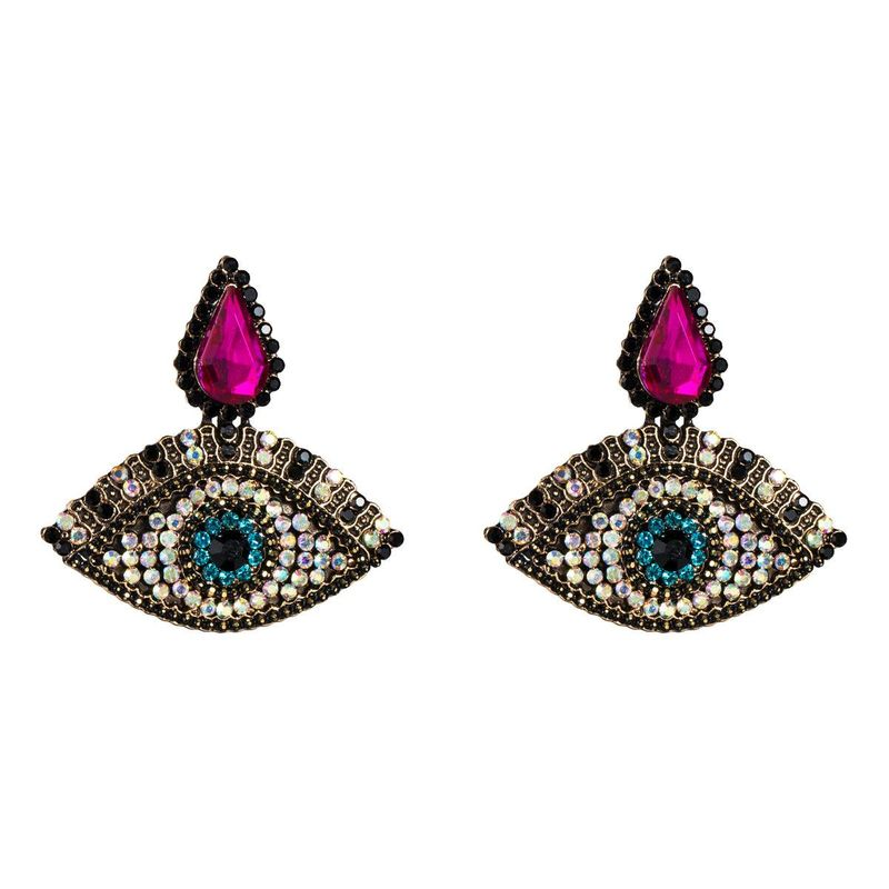 Womens Retro full drill Eye Acrylic Earrings NHJE125371