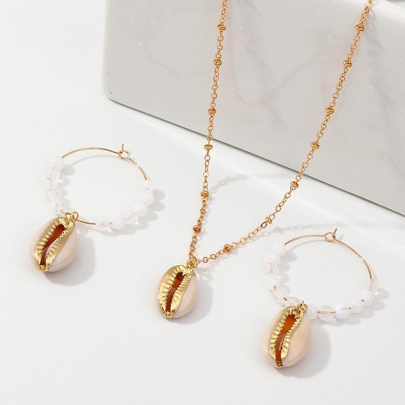 Fashion natural beads shell starfish Beads Jewelry Sets NHNZ125372