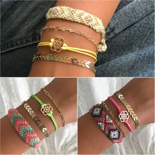 Fashion simple bohemian hand-woven Leaf Alloy Bracelet NHNZ125374's discount tags