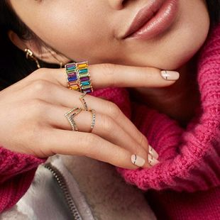 Womens geometric inlaid zircon copper Rings NHAS125381's discount tags