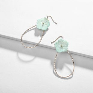 Womens Geometry Electroplating Shell color flower copper Alloy Earrings NHLU125390's discount tags