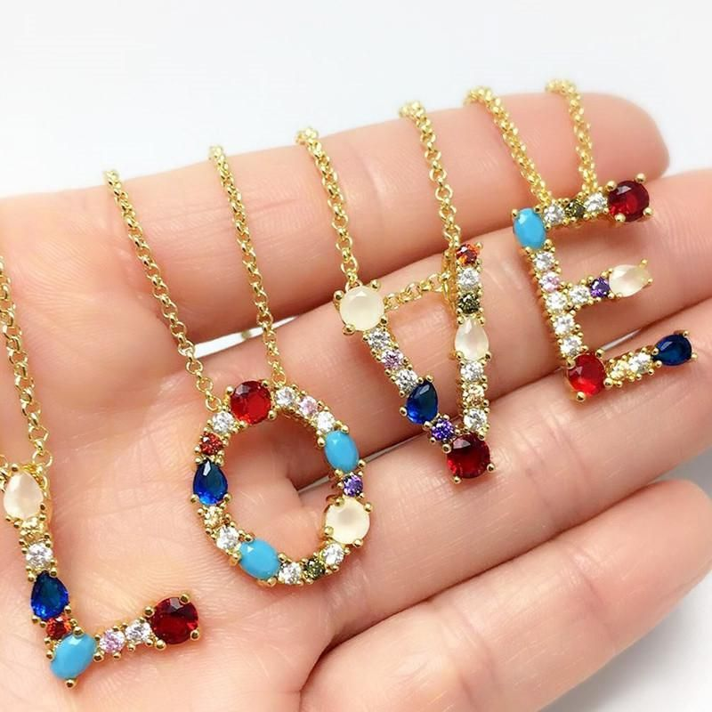 Womens Alphabet / Number / Text inlaid Zircon Copper Plated 18K Alloy Simple Necklaces NHAS125407