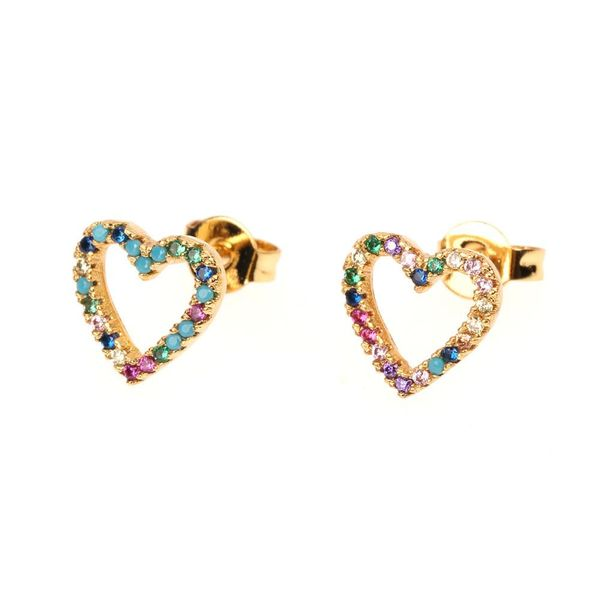 Womens Heart-Shaped Rhinestone Copper Earrings NHPY125483