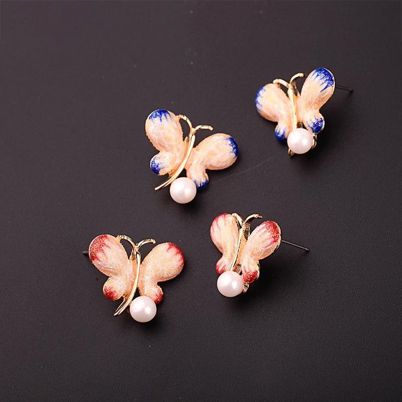 Womens Butterfly Drop Oil Alloy Earrings NHQD125488