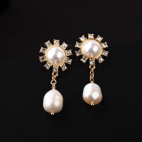 Womens Floral Rhinestone Alloy Earrings NHQD125553's discount tags