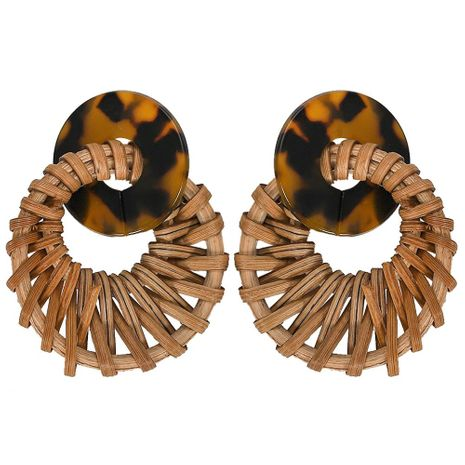 Womens Geometric Woven rattan grass ring Acrylic Earrings NHJQ125565's discount tags