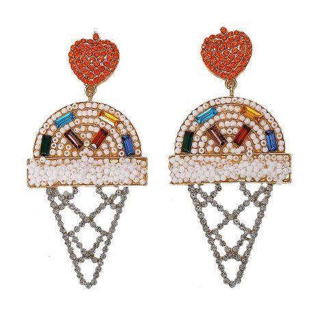 Womens Ice Cream Rice Beads Heart Beads Rhinestone Alloy Earrings NHJQ125596's discount tags