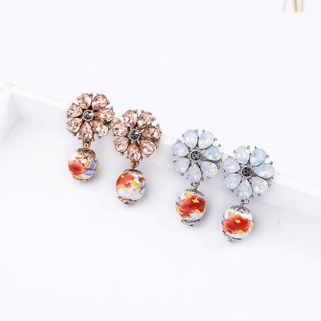 Womens Floral Rhinestone Alloy Earrings NHQD125611's discount tags