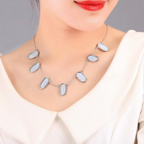 Womens geometric rhinestone alloy Necklaces NHQD125623's discount tags