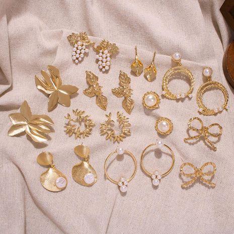 Womens Geometric Alloy Imitation Beads Earrings NHMD125635's discount tags
