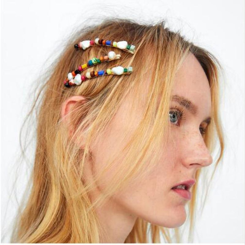 Womens U-shaped color imitated crystal shell red coral stone   citrine headband Hair Accessories NHMD125637