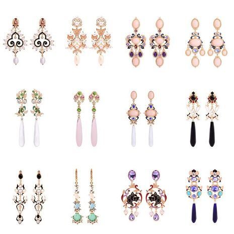 Womens Geometric Rhinestone Alloy Earrings NHQD125638's discount tags