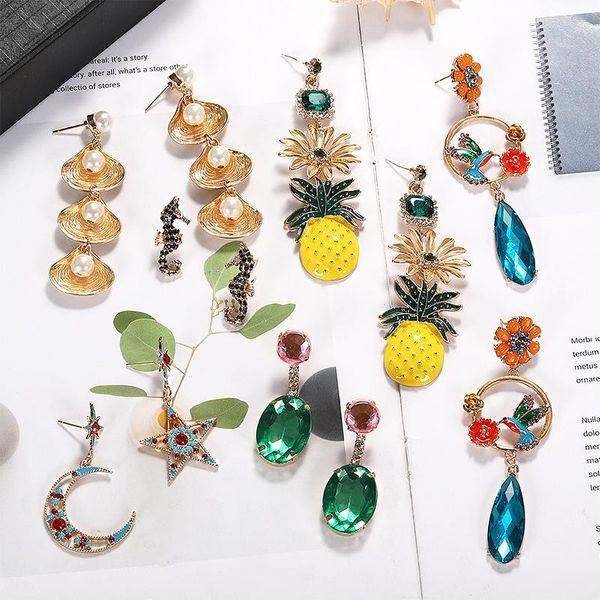 Womens Beads Shell Hippocampus Pineapple Alloy Beads Gem Earrings NHJQ125640