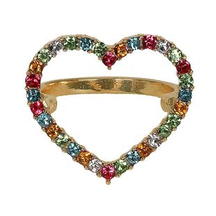 Heart-shaped rhinestone alloy Rings NHJQ125643's discount tags