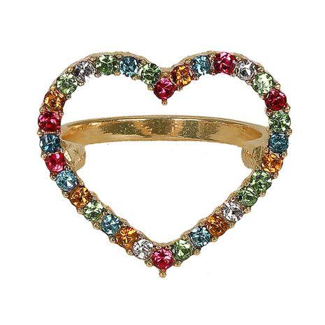 Heart-shaped rhinestone alloy Rings NHJQ125643's discount tags