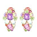 Womens Geometric Alloy Imitation Rhinestone Earrings NHMD125502