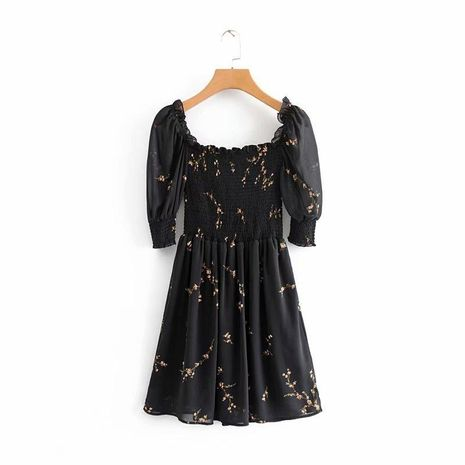 Spring Print Short Sleeve Elastic Retro Slim Dress NHAM125697's discount tags