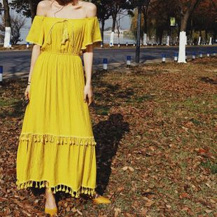 Fashion fringed elastic long skirt holiday dress NHAM125867's discount tags