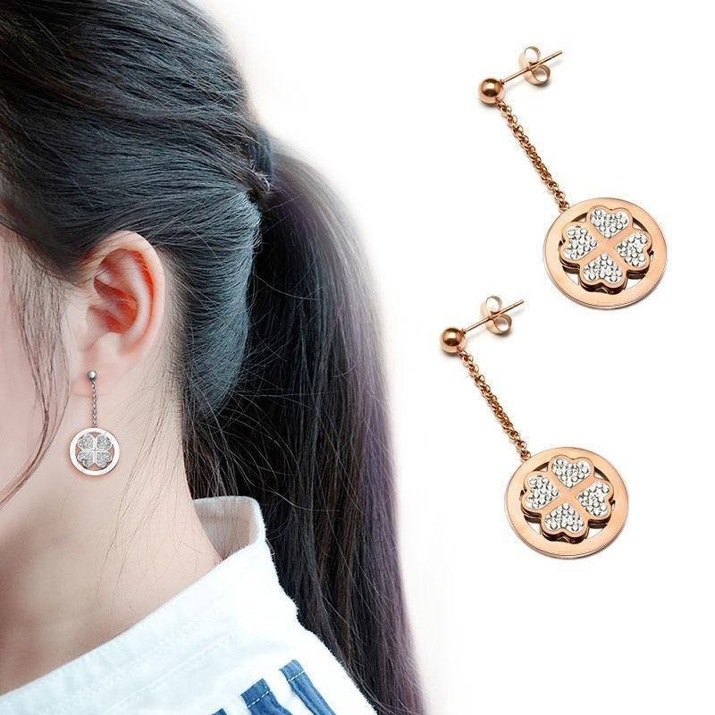 Womens Floral Plating Titanium Steel Earrings NHOK126009