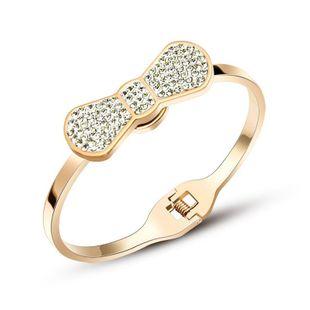 Womens Bow Plating Titanium Steel Melia Bracelets & Bangles NHOK126014's discount tags