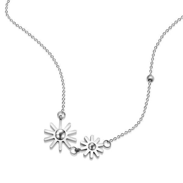 Womens Sun flower Titanium Steel  Necklaces NHOK126015