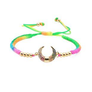 Micro-set color zircon woven adjustable bracelet NHYL126023's discount tags