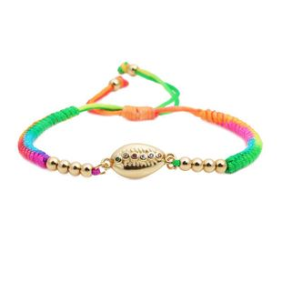 Colored woven zircon shell bracelet NHYL126032's discount tags