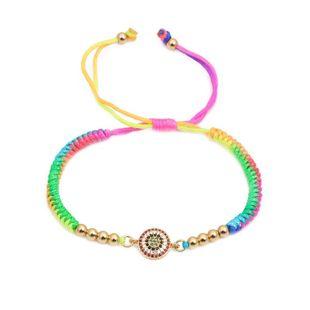 Micro-set color braided adjustable DIY bracelet NHYL126034's discount tags