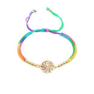 Micro-set color zircon color woven bracelet NHYL126049's discount tags