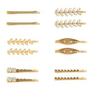 Vintage fashion hair accessory, leaf flower, rhinestone hair clip NHHN126053's discount tags