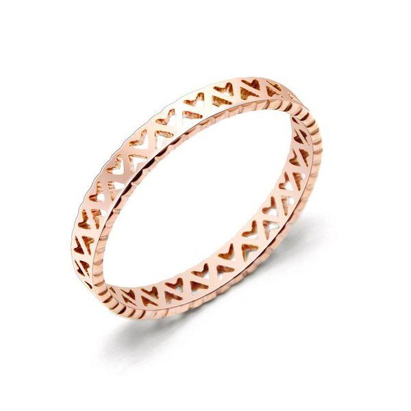 Womens Geometric Plating Hollow love titanium steel Rings NHOK126055