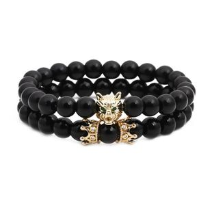 Unisex Wolf Head Natural stone black agate Copper Bracelets & Bangles NHYL126068's discount tags