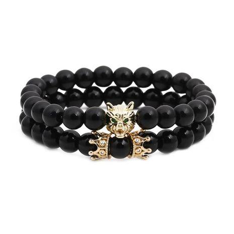 Unisexe tête de loup pierre naturelle agate noire bracelets et bracelets en cuivre NHYL126068's discount tags