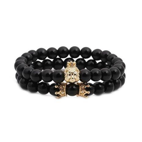 Bracelets et bracelets unisexes en cuivre avec tête de lion en pierre naturelle NHYL126069's discount tags