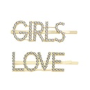 Womens Simple alloy rhinestone letters Plating Alloy Hair Accessories NHHN126054