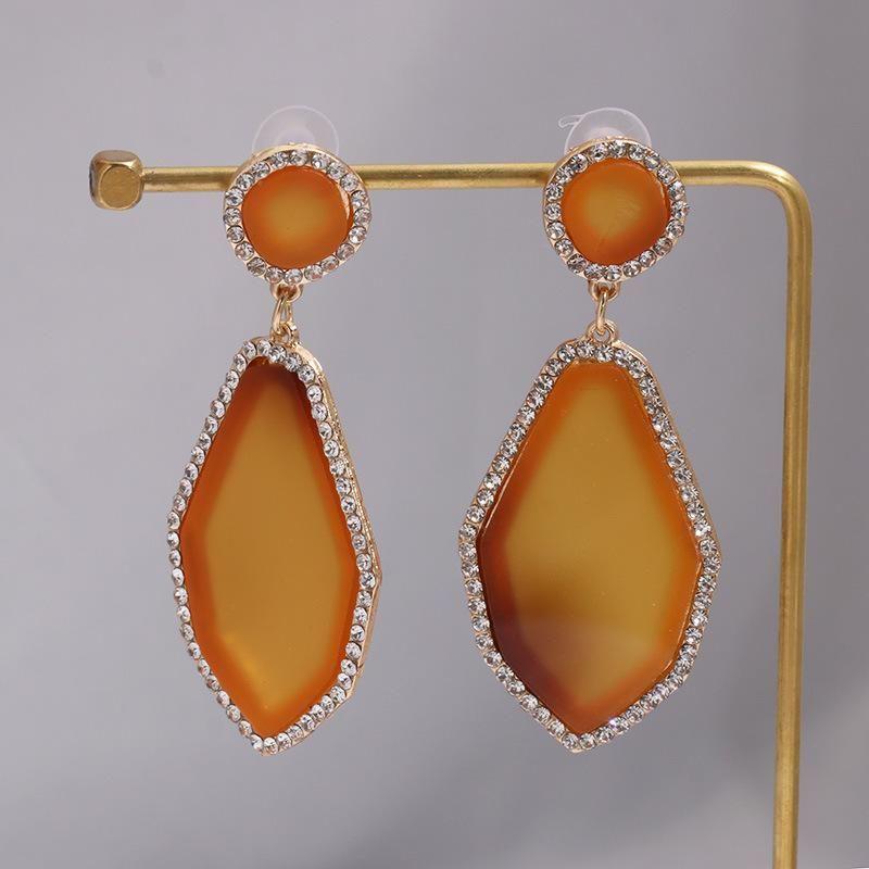 Sleek minimalist geometric resin earrings NHJJ130292