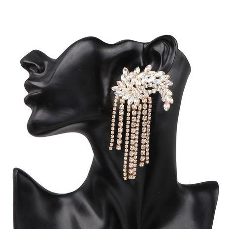 Exaggerated luxury full length flower tassel alloy earrings NHJJ130301's discount tags