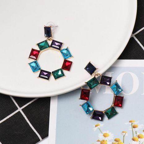 Stylish geometric sun flower circle with rhinestone earrings NHJJ130307's discount tags