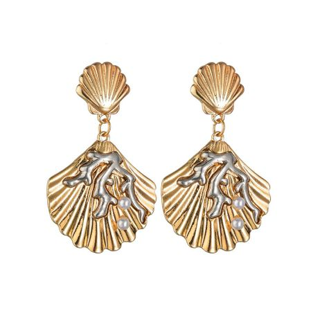 Temperament popular shell coral alloy earrings NHBQ130321's discount tags