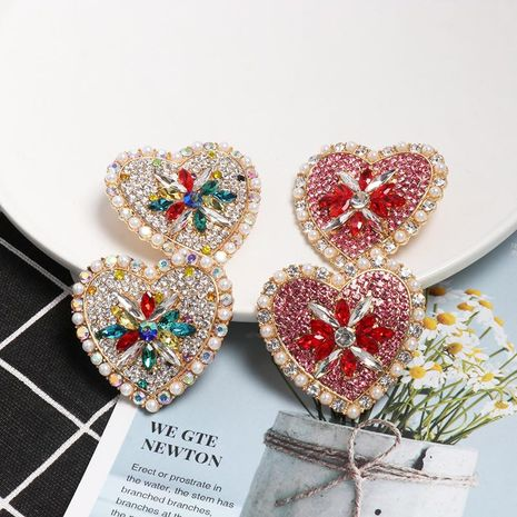 Womens Heart-Shaped Rhinestone Alloy Earrings NHJJ130344's discount tags
